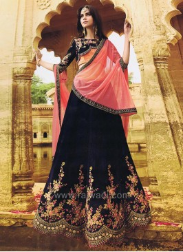Dark Navy Blue Lehenga Set with Cut Work Border