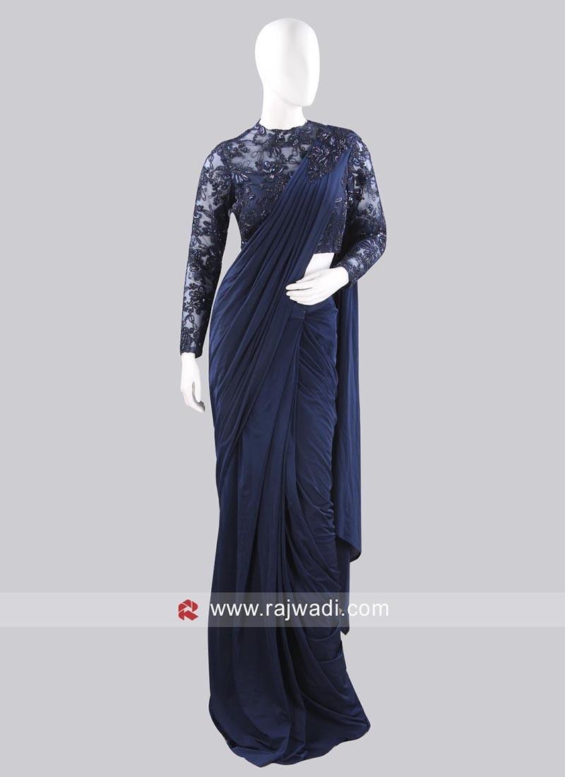 Dark Navy Blue Party Wear Pre Stitched Saree