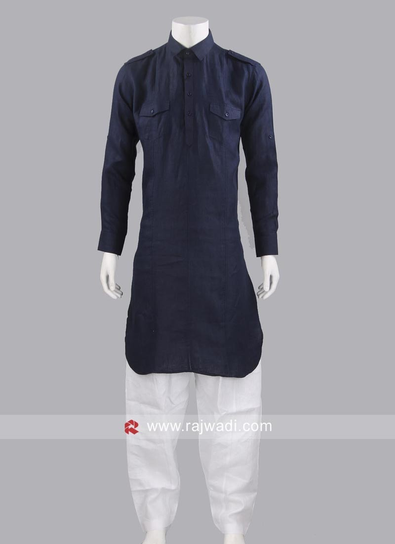 Dark Navy Blue Pathani Suit