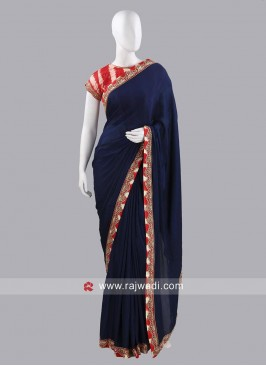 Dark Navy Blue Plain Choli Saree