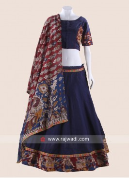 Dark Navy Blue Printed Chaniya Choli