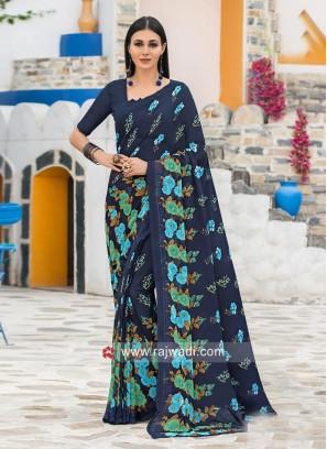Dark Navy Blue Printed Saree