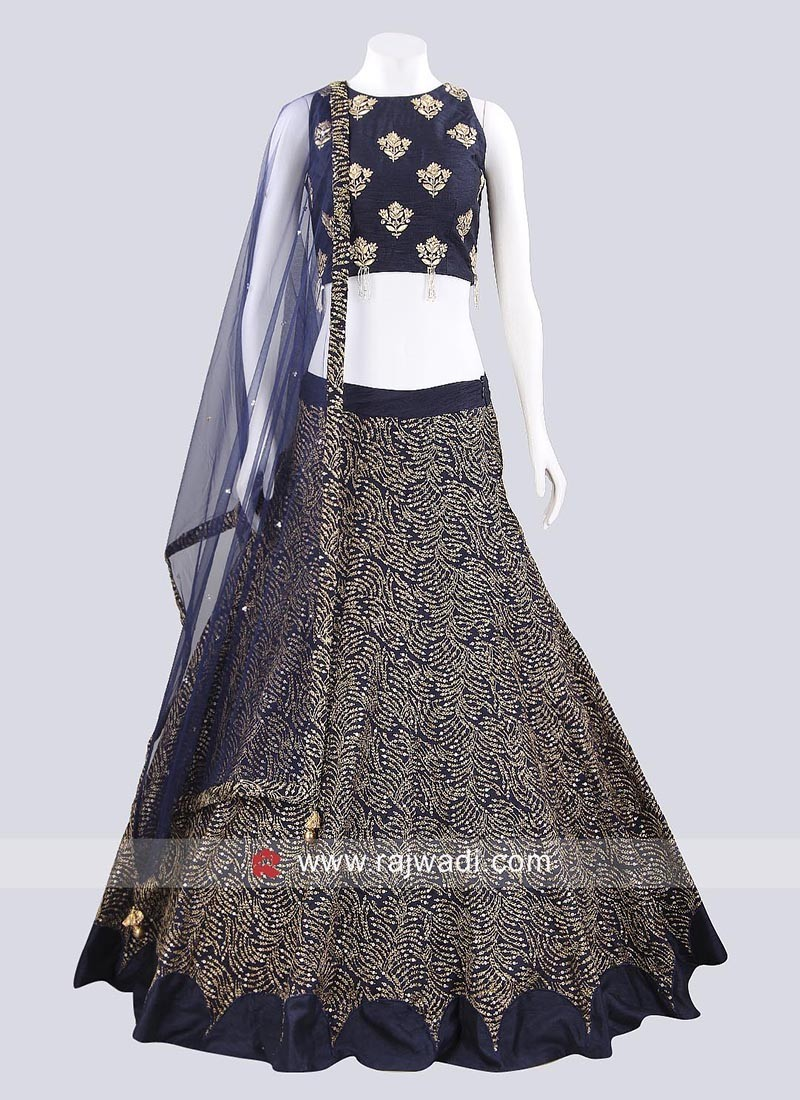 Dark Navy Blue Raw Silk Lehenga
