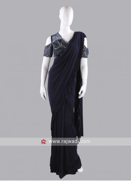 Dark navy blue ruffle saree