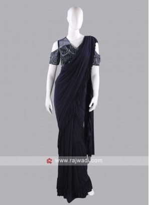 Dark navy blue ruffle saree