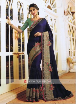 Dark Navy Blue Saree with Broad Border