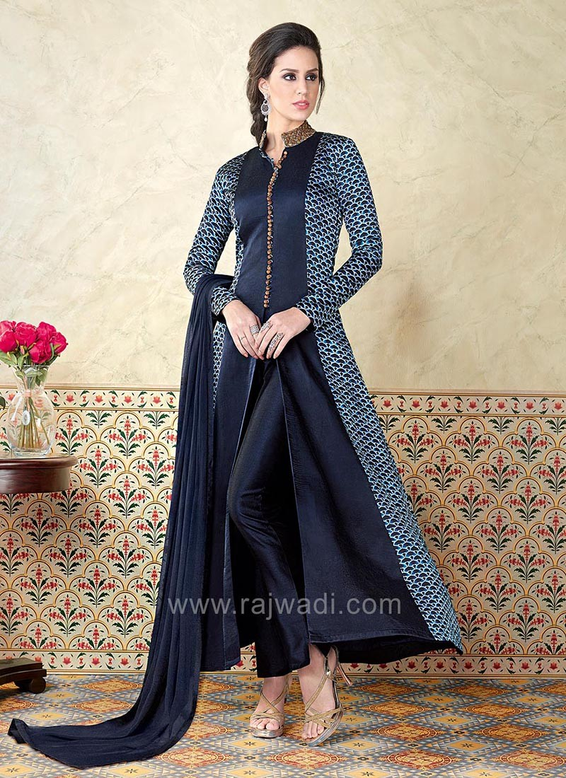 Dark Navy Blue Semi Stitched Salwar Suit