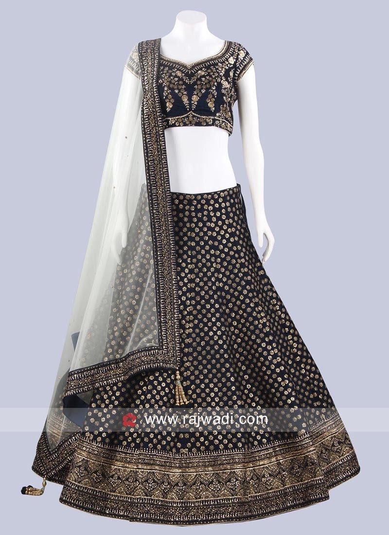 Dark Navy Blue Velvet Lehenga Choli