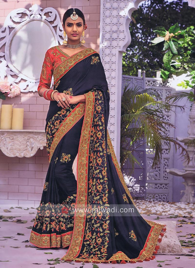 Dark Navy Embroidered Saree with Blouse