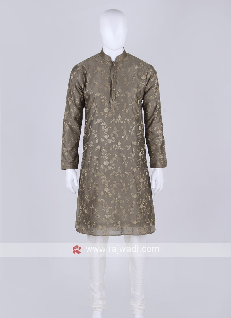 dark olive and off white kurta pajama