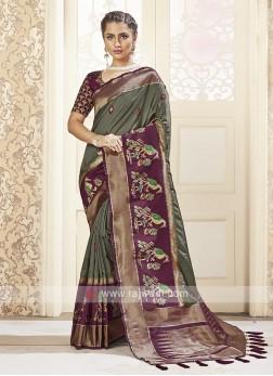 Dark Olive Banarasi Silk Saree