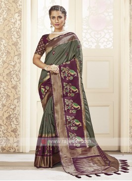 Dark Olive Banarasi Silk Saree