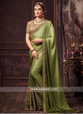 Dark Olive Designer Sari