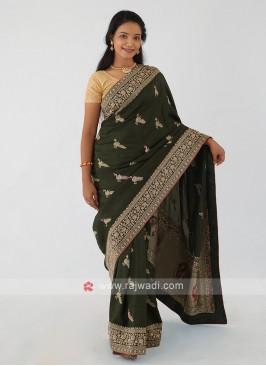 Dark Olive Green Banarasi Silk Saree