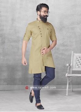 Stylish Khaki Color Pathani Set