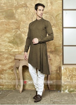 Dark Olive Green Color Pathani Set
