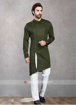 Dark Olive Green & White Kurta Pajama