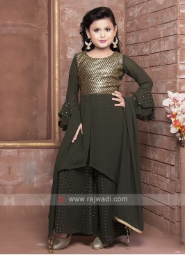 Dark Olive Green Palazzo Suit For Girls