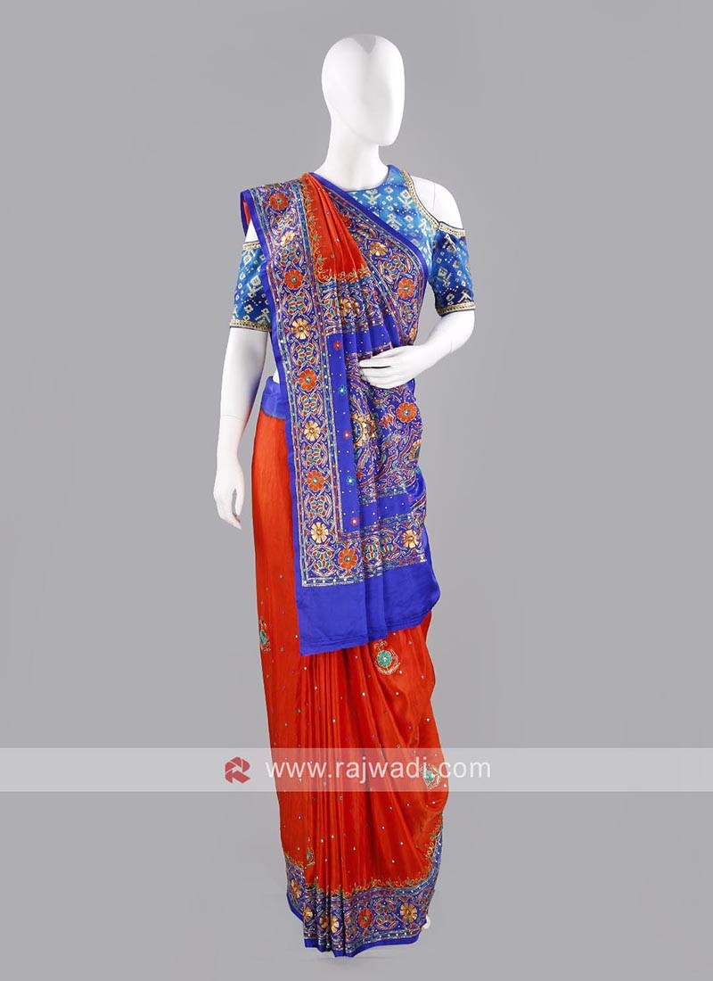 Dark Orange and Blue Designer Saree