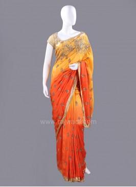 Dark Orange and Mustard Yellow Shaded Embellished Sari