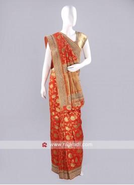Dark Orange Banarasi Silk Saree