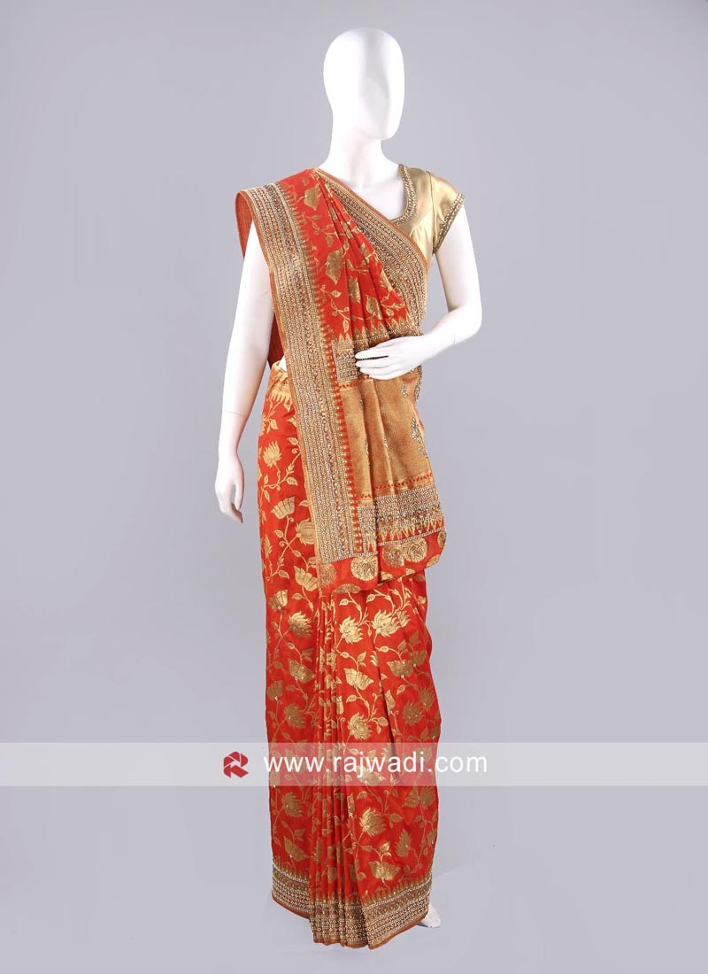 Dark Orange Banarasi Silk Saree