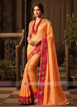Dark Orange Border Work Saree
