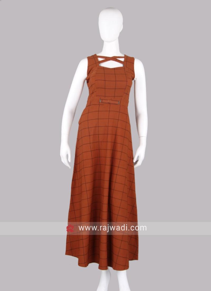 Dark Orange Checks Maxi Dress