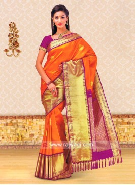 Dark Orange Kancheepuram Silk Saree