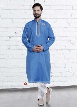 Deep Sky Blue Kurta Pajama