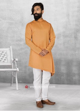 Orange Satin Pathani Suit