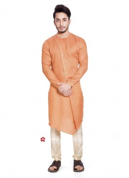 Round Neck Light Orange Pathani Set