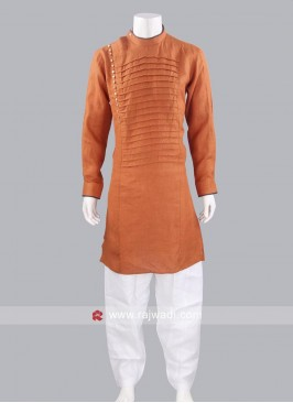 Dark Orange Line Pathani Suit
