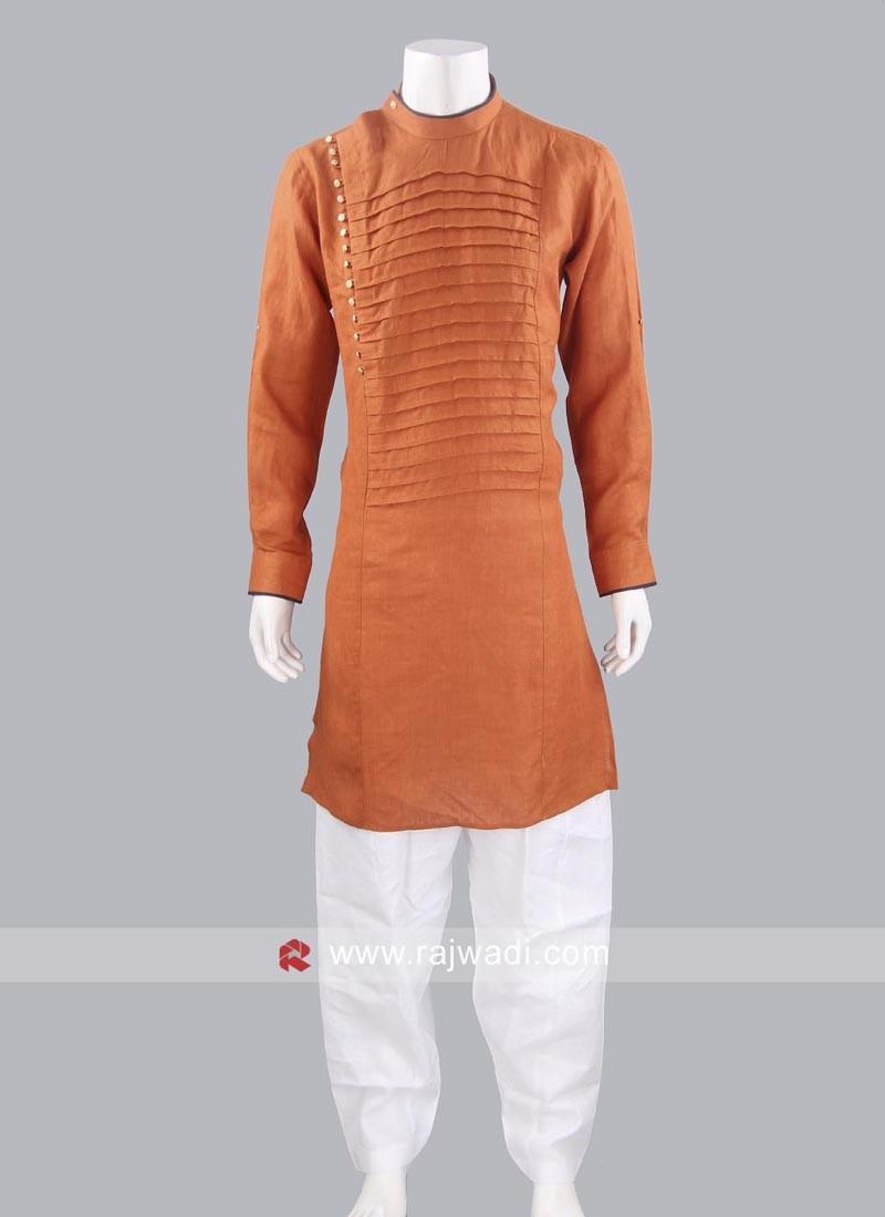 Dark Orange Line Pathani Suit