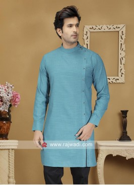 Deep Sky Blue Cotton kurta