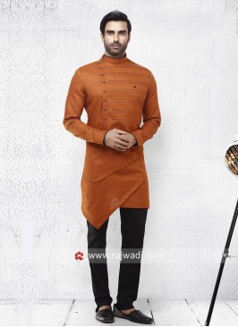 Dark Orange Pathani Suit
