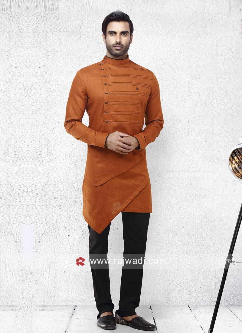 Dark Orange Pathani Suit