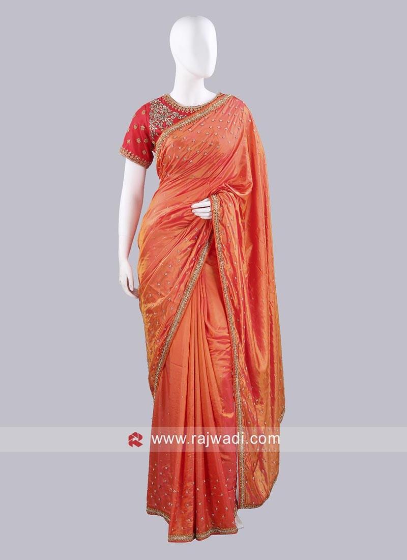 Dark Orange Saree with Contrast Blouse