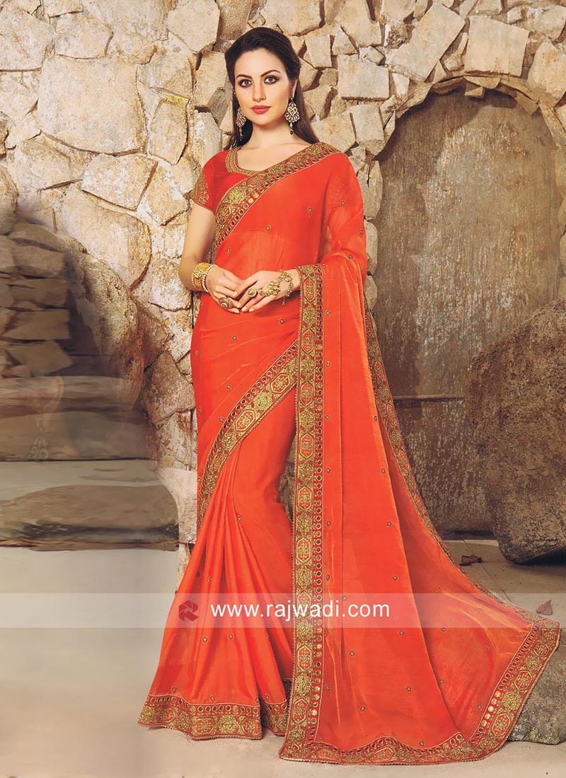 17e633a597a45 Dark Orange Saree with Contrast Blouse. Hover to zoom