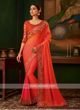 Dark orange satin silk saree