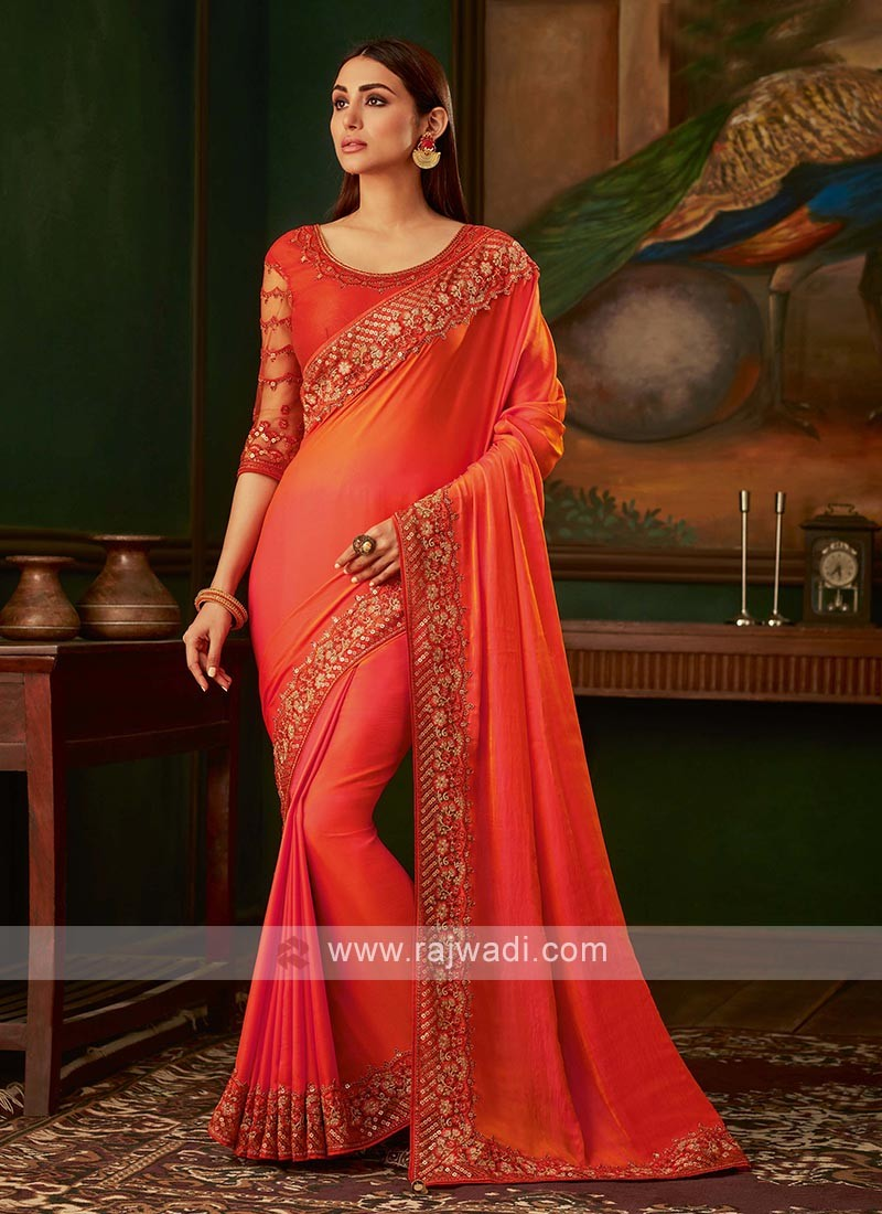 Dark orange satin silk saree