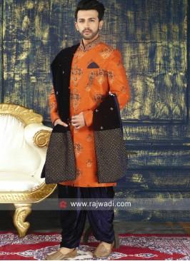 Dark Orange Sherwani With Dupatta