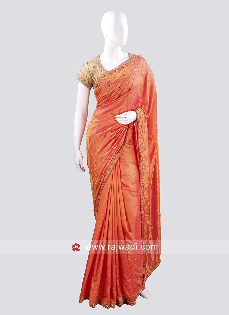 Dark Orange Taffeta Silk Saree