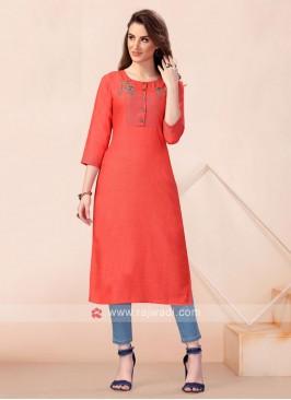 Dark Orange Thread Work Cotton Kurti
