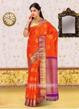 Dark Orange Weaved Saree