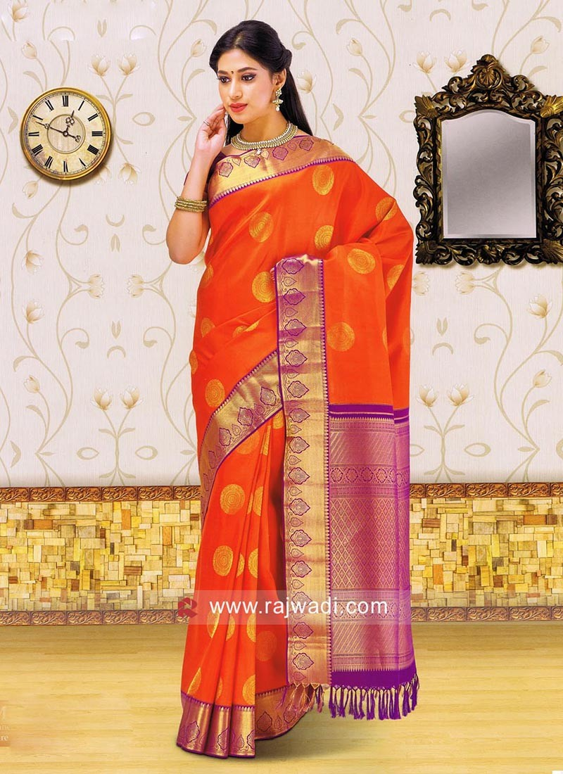 Dark Orange Weaved Saree