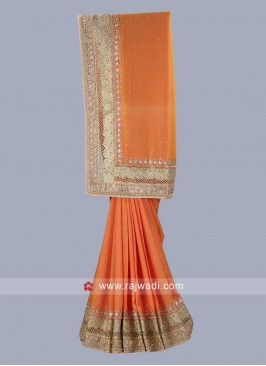 Dark Orange Wedding Saree