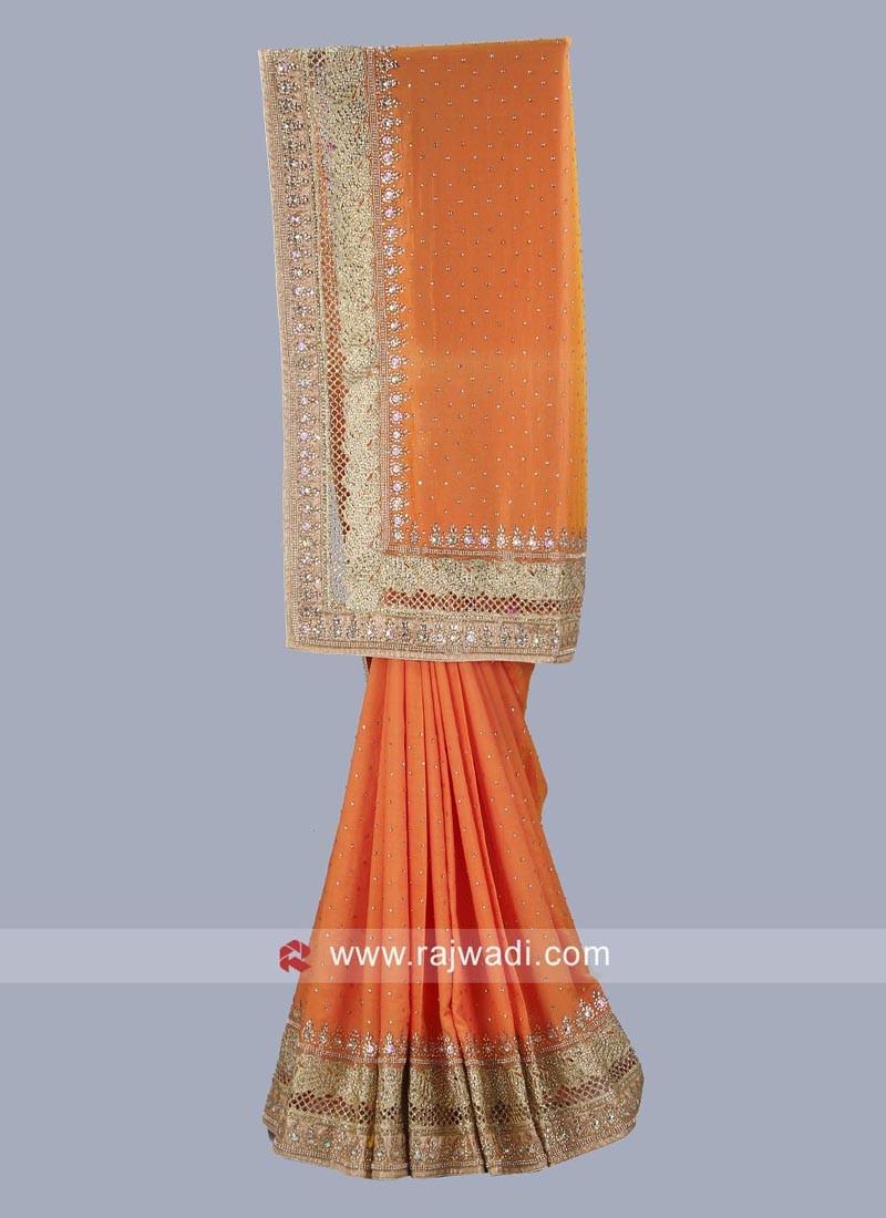 Dark Orange Wedding Saree