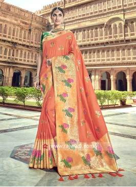Dark Peach Bird Motifs Woven Saree