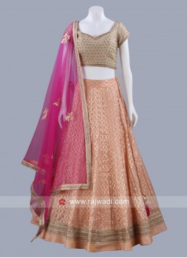 Dark Peach Brocade Silk Weaved Lehenga Set